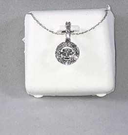 0.40ctw Round Cut diamonds Dancing, Halo Style Lady's Pendant; 14Kt. White Gold