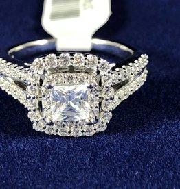 Diamond Engagement Ring 1.33 ctw Princess Cut, Halo Style 14KT White Gold