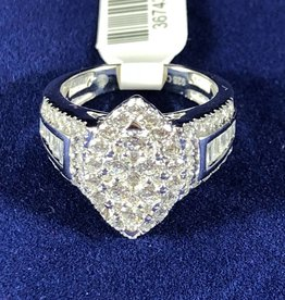 Diamond Engagement Ring 2.00 ctw Marquise Cut, Halo Style 14KT White Gold