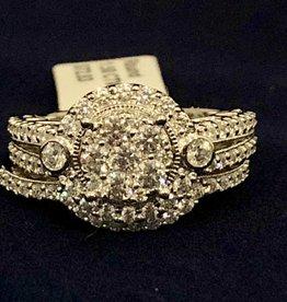Diamond Wedding Set 1.50 ctw Round cut, Halo Style 14KT White Gold