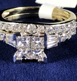 Princess Shape with Round Cut and Baguette 1.49ctw Diamonds Lady's Engagement Ring; 14Kt. White Gold
