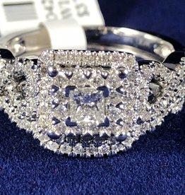 Princess Cut with Round cut 0.87 ctw Diamond, Infinity Style Wedding Set