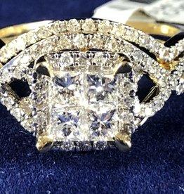 Princess Cut with Round cut 1.00 ctw Diamond, Infinity Style Wedding Set;14KT Yellow Gold
