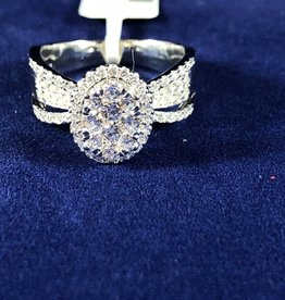 1.00ctw Oval Shape with Round Cut Diamonds, Halo style, 14KT White Gold Lady's Engagement Ring