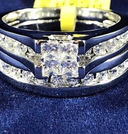 1.50ctw Princess Cut with Round Cut Diamonds, Lady's Wedding Sets