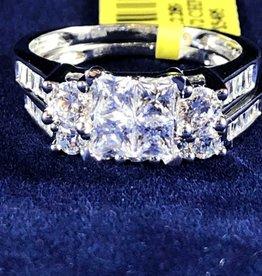 1.50ctw Princess Cut with Round & Baguette Cut Diamonds, Lady's Wedding Sets