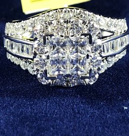 2.00ctw Princess Cut with Round/Baguette Diamonds Halo Style Lady's Engagement Ring; 14KT White Gold
