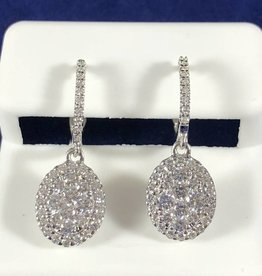 1.00 CTW Oval Shape with Round Cut Diamonds, 14KT White Gold Dangling Earrings