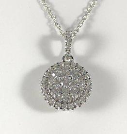 0.75 CTW Round Cut, 14KT White Gold Diamonds Pendant