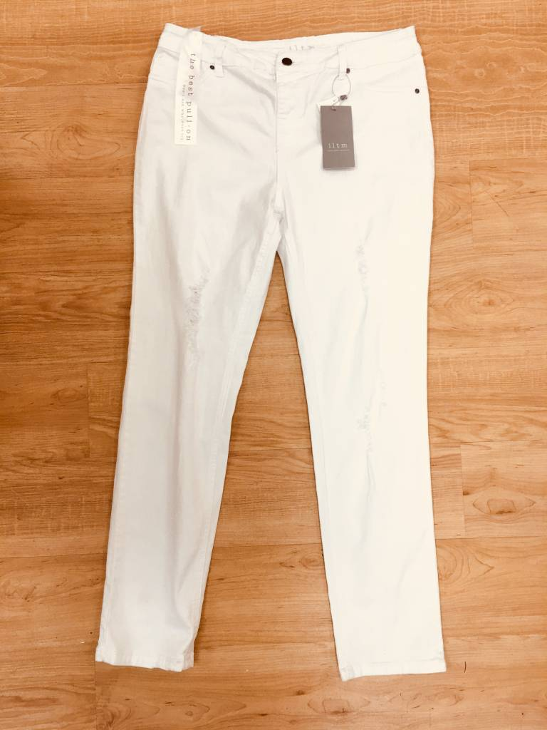 Accessories Now White Distressed Skinny Pull On