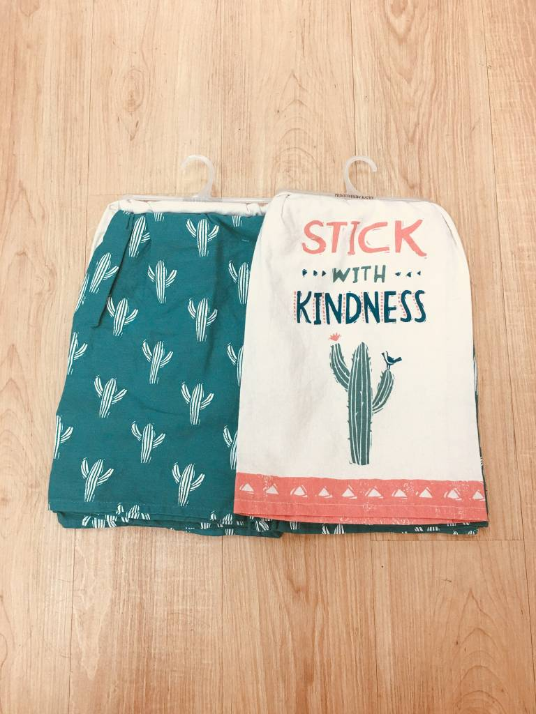 Primitives By Kathy Stick With Kindness Set of 2 Dishtowels