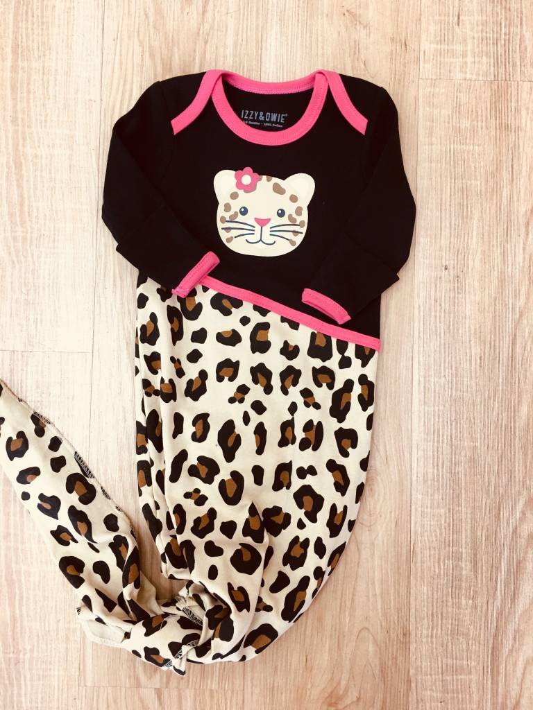 Izzy & Owie Jungle Cat Knotted Onsie  0-9M