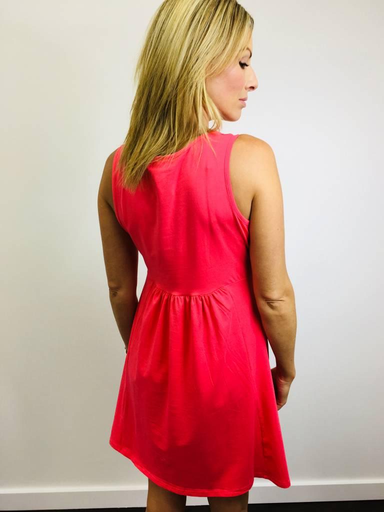 Papillon Coral Pleat Front Pocket Dress