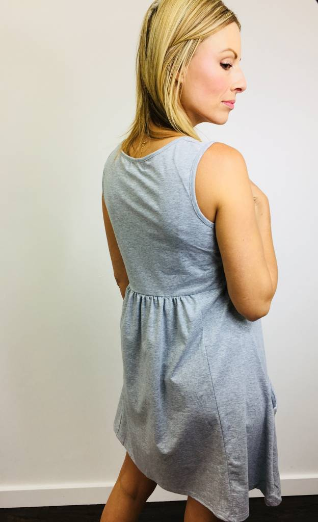 Papillon Grey Pleat Front Pocket Dress