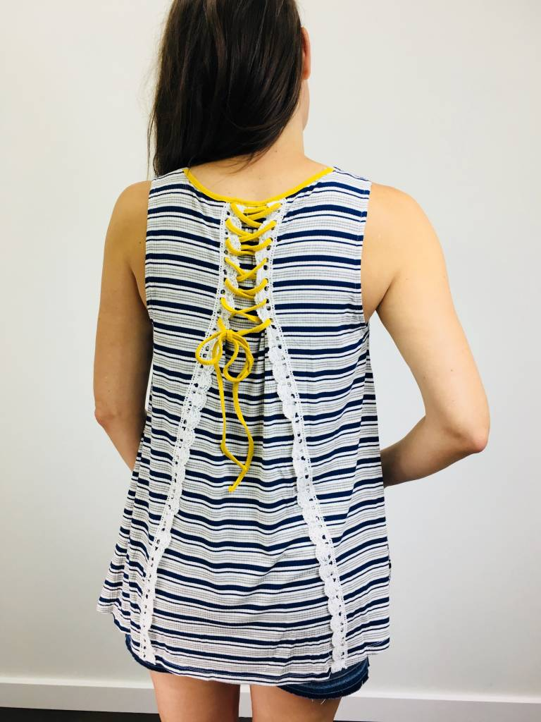 Hem & Thread Back Lace Up Tank