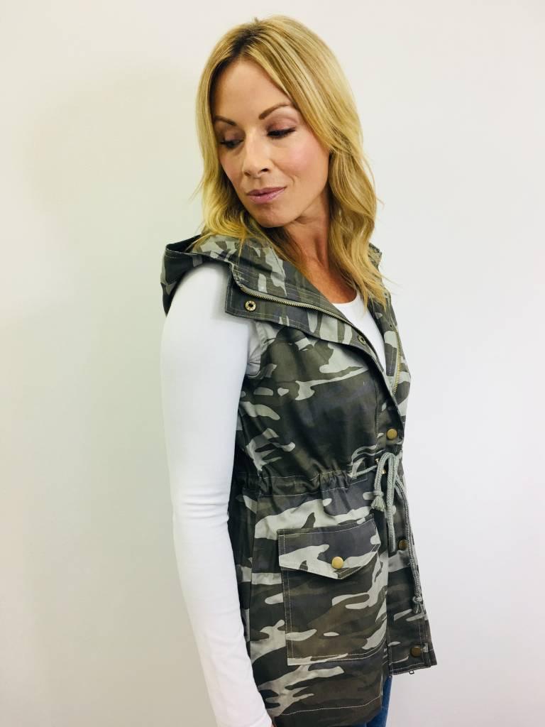 Zenana Camo Drawstring Vest