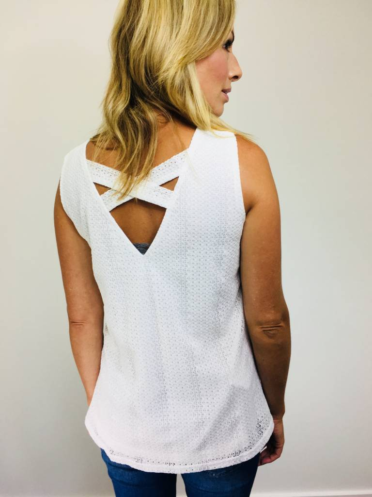Doe & Rae Back Criss Cross Tank Off White
