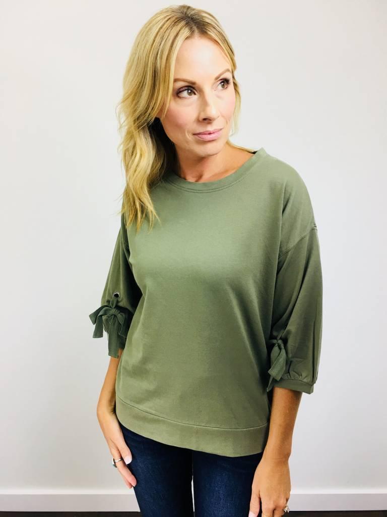 Downeast Gathered Sleeve Sweatshirt Fall Green
