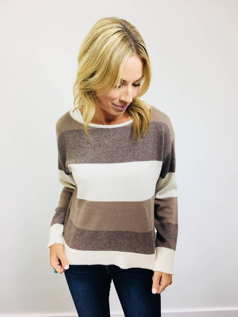 Rag Poets Lexi Stripe Peppercorn Sweater