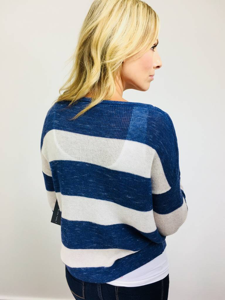 Black Tape Cold Shoulder Stripe Sweater