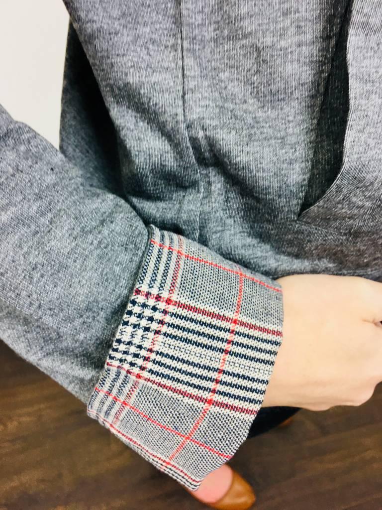 Hem & Thread Contrast Sleeve Bomber Jacket
