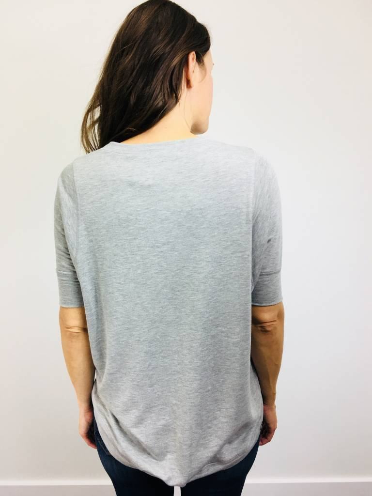 KLD French Terry Stitch Detail Top Heather Grey
