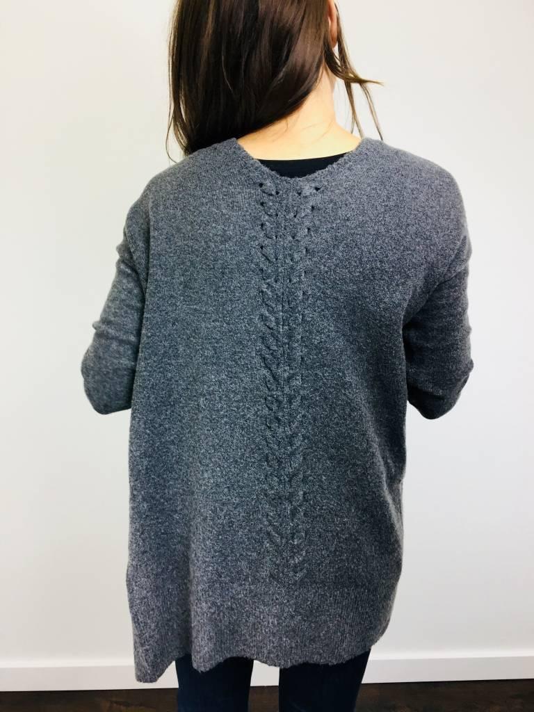 Dex Charcoal Heathered Cardigan w/ Back Detail