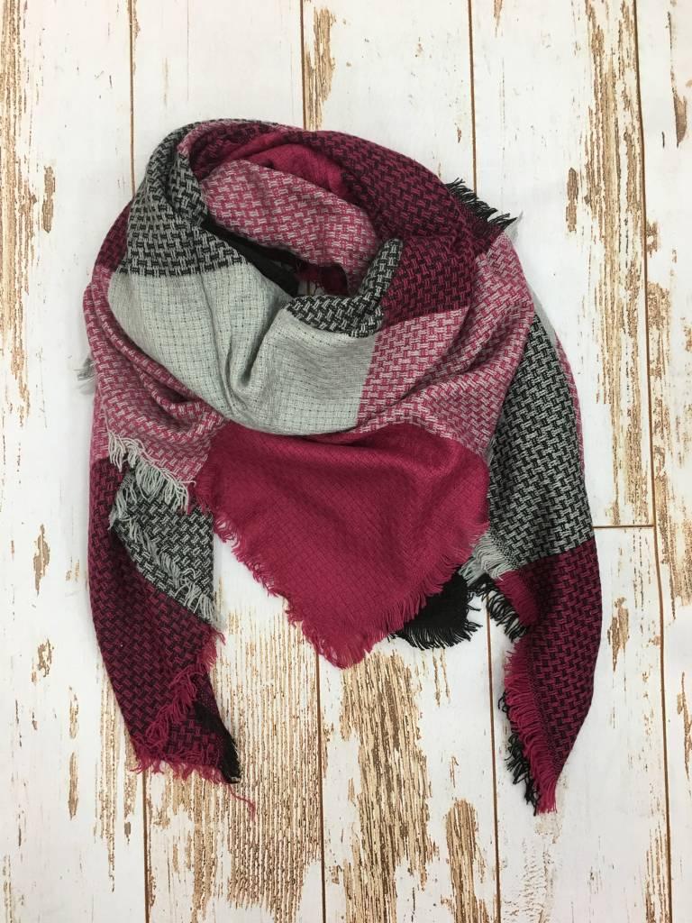Epretty Blanket Scarf Magenta/Blk/Grey