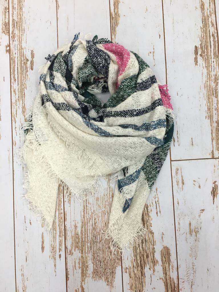Epretty Blanket Scarf Cream/Navy/Green/Pink