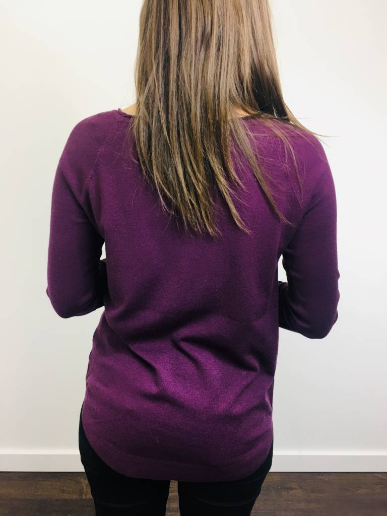 Staccato Boatneck Plum Sweater