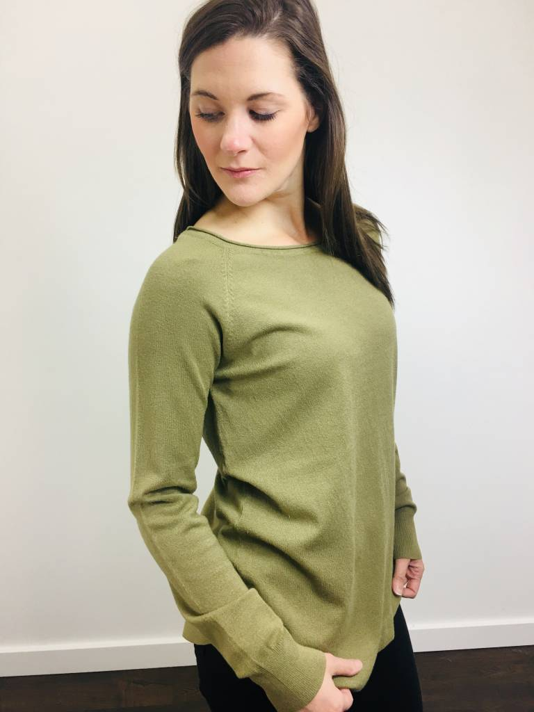 Staccato Boatneck Light Olive Sweater