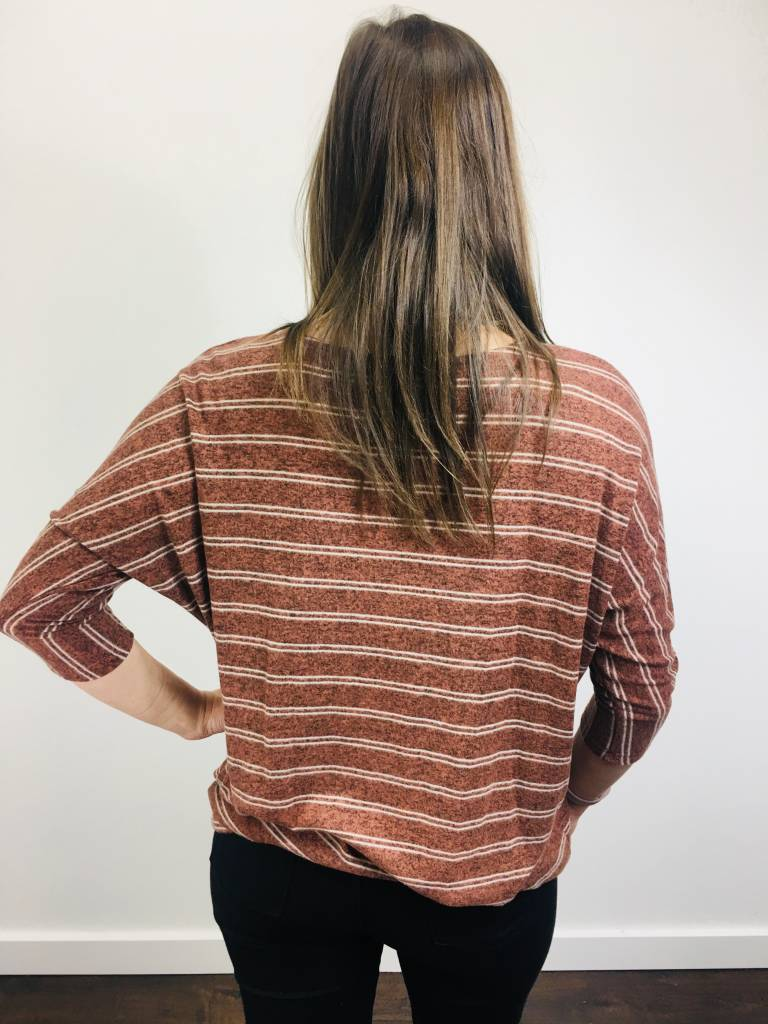 KLD Brushed Jersey Stripe Boxy Top Rust