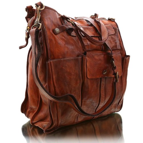 "Campomaggi Cowhide Leather Bag.  Famous ""Moscati"" design. Cognac"