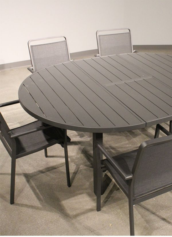 White Line Aloha indoor / Outdoor extendable Oval Dining Table Grey Alumini