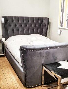 Diamond Sofa Allure Queen Grey Tufted Velvet Bed