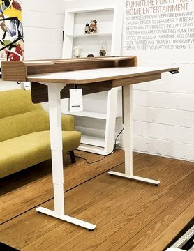 BDI Kronos Satin White, Natural Walnut Lift Desk