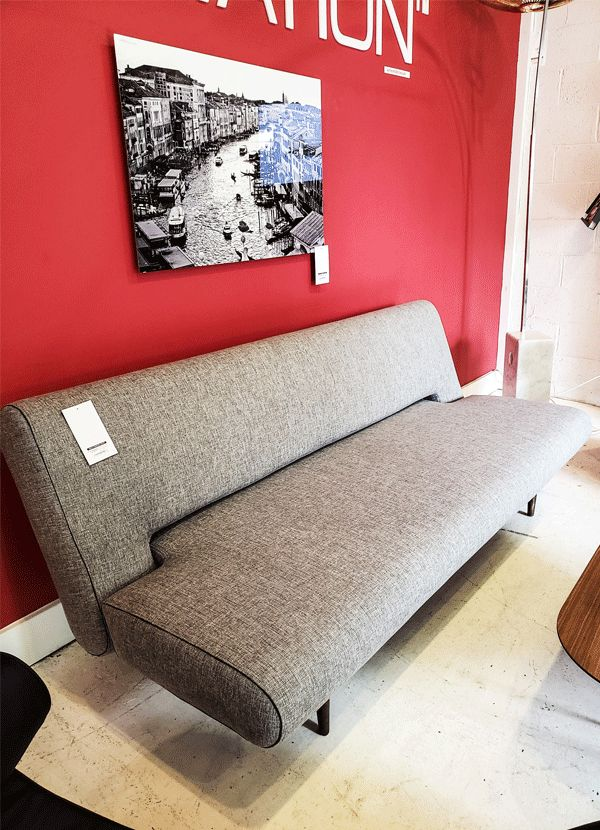 Unfurl Sofa, Dark Wood Legs Mixed Dance Grey