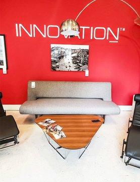 Innovations Living Unfurl Sofa, dark wood Legs Mixed dance grey