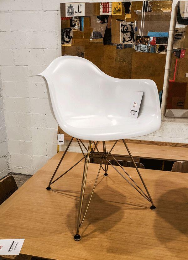 AEON MODERN CLASSIC Sasha White Matte Arm Chair with Champagne Finished Steel Eiffel Base