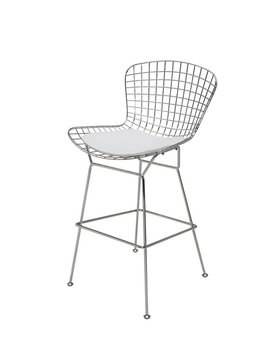 Nuevo Living WIREBACK - STOOL COUNTER WHITE SEAT NAUGAHYDE MATTE