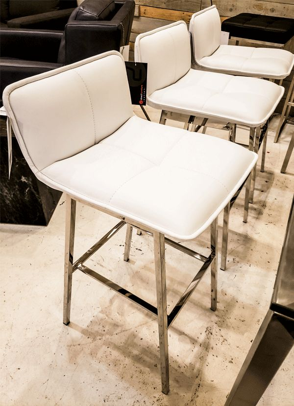 Nuevo Living SABRINA BAR STOOL  WHITE  NAUGAHYDE POLISHED SS