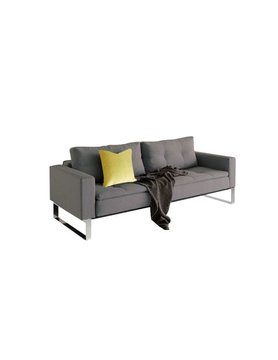 "Innovations Living DUAL SOFA, W/ARMS, CHROME LEGS, 55""X91"" CHROME LEGS, SOFT GREY"