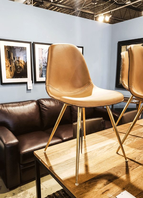 Charmant WES DINING CHAIR Brass Legs