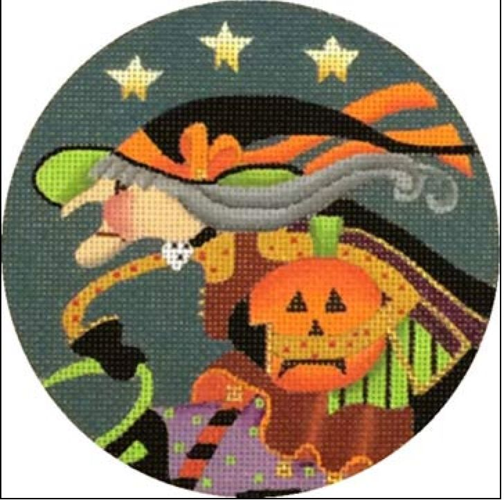 Witch Profile with Pumpkin Ornament