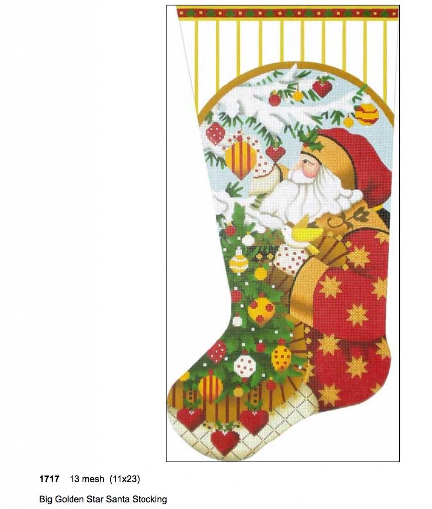 Big Golden Star Santa Sock