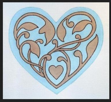 Aqua Filigree Heart