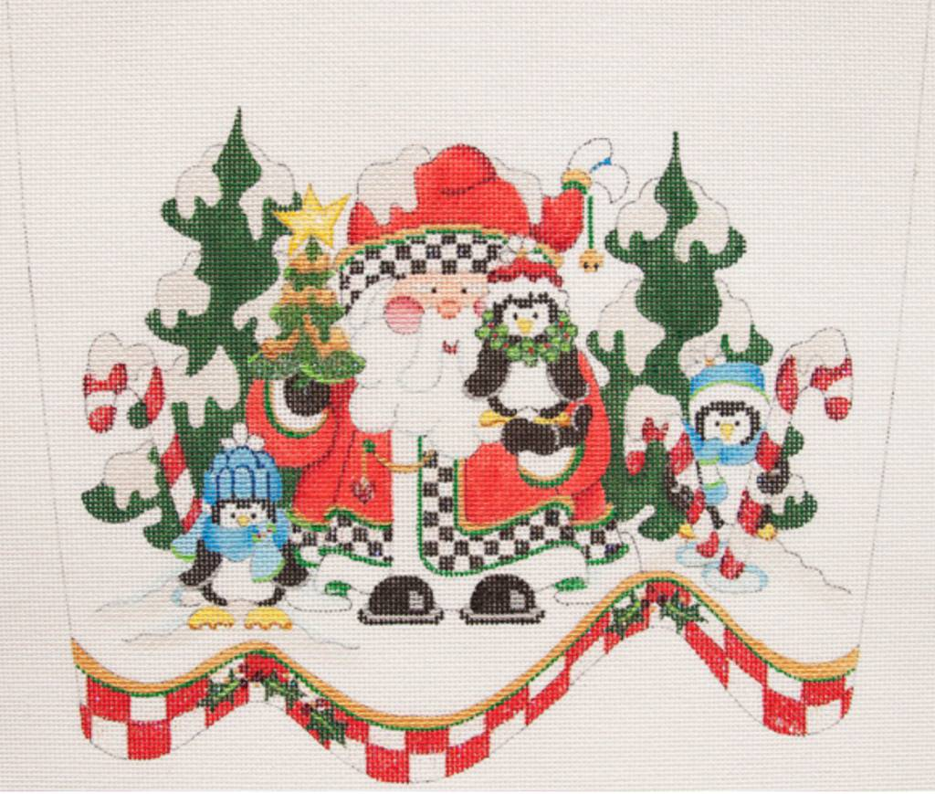 Stocking Cuff Santa w/ Penguins
