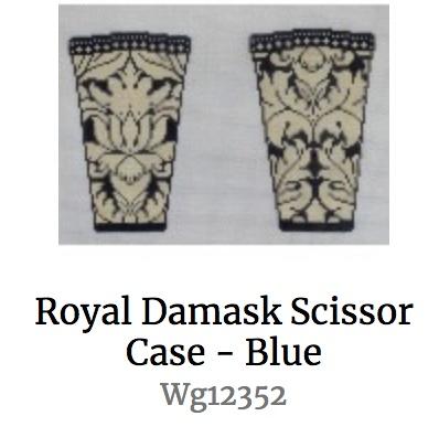Royal Damask Scissor Case - Blue