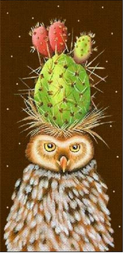 Owl With Cactus