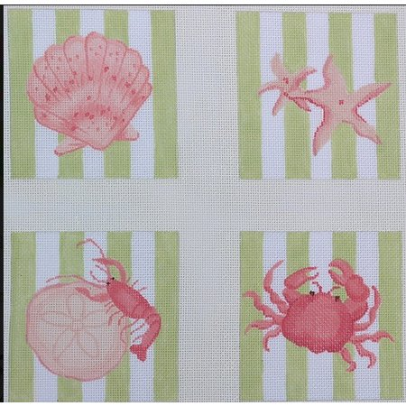 Coasters Striepd Shells/Crab/lobster
